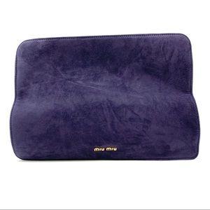 Miu Miu Large Purple Suede Clutch